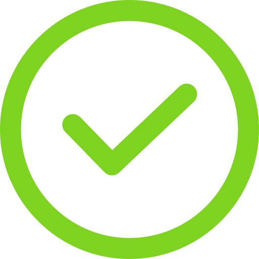 Green tick with a thick circular border