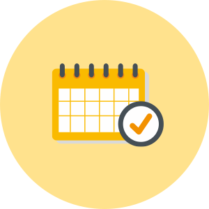 House removals calendar icon in grey, yellow and black