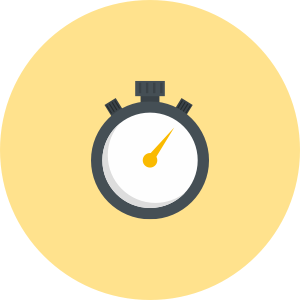 Stopwatch icon in black, yellow and grey.