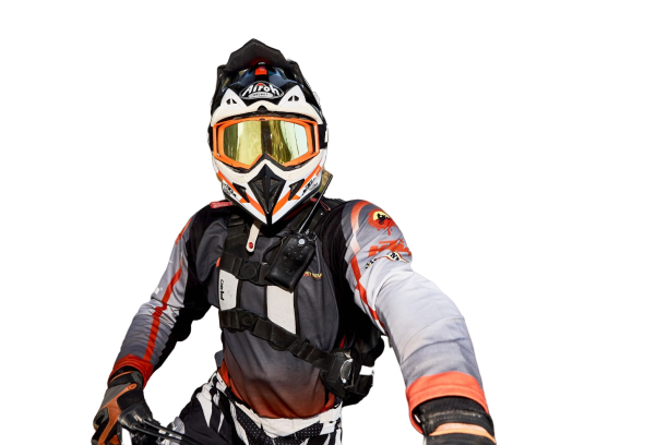 Man with motorcycle gear