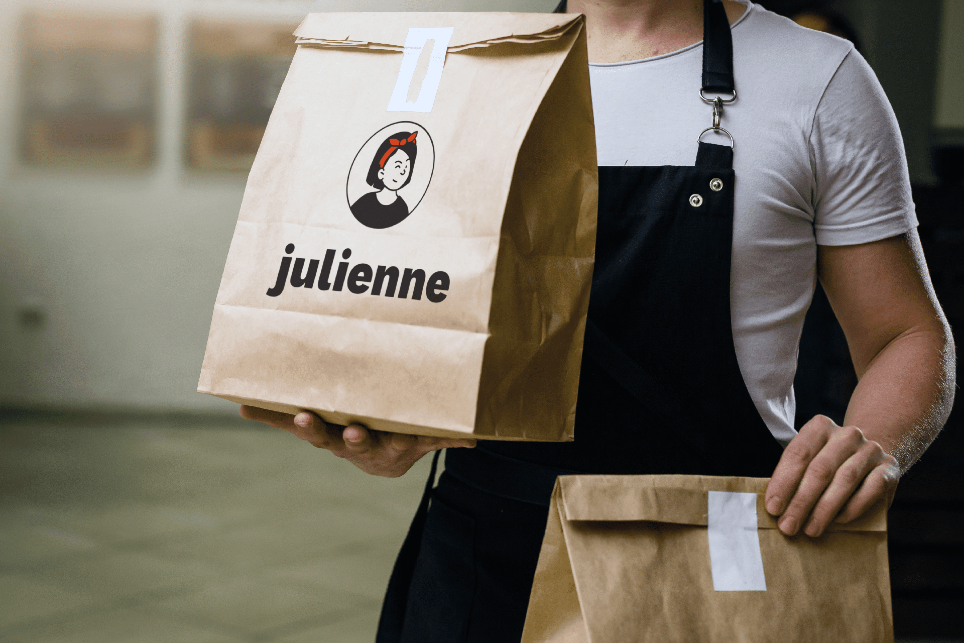 Julienne branding on recycled paper bags
