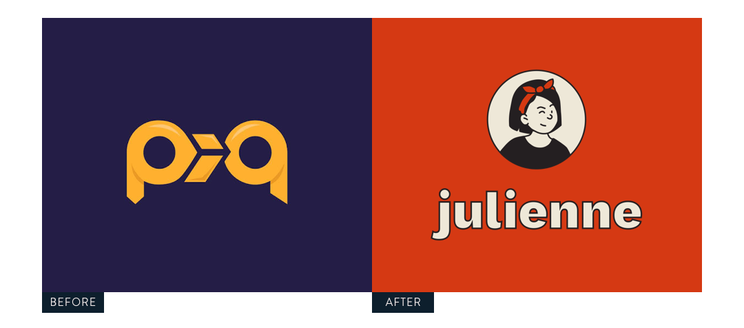 Julienne logo before and after