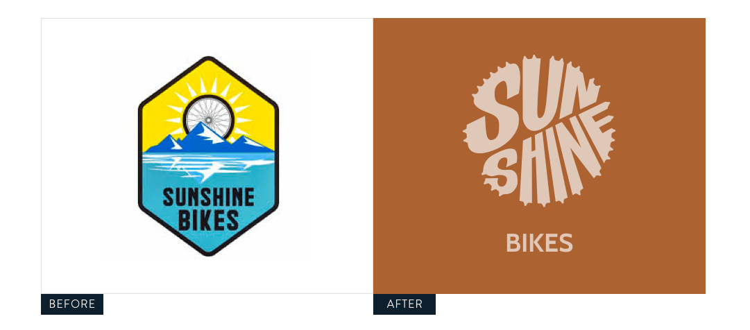 Sunshine Bikes Logo before and after