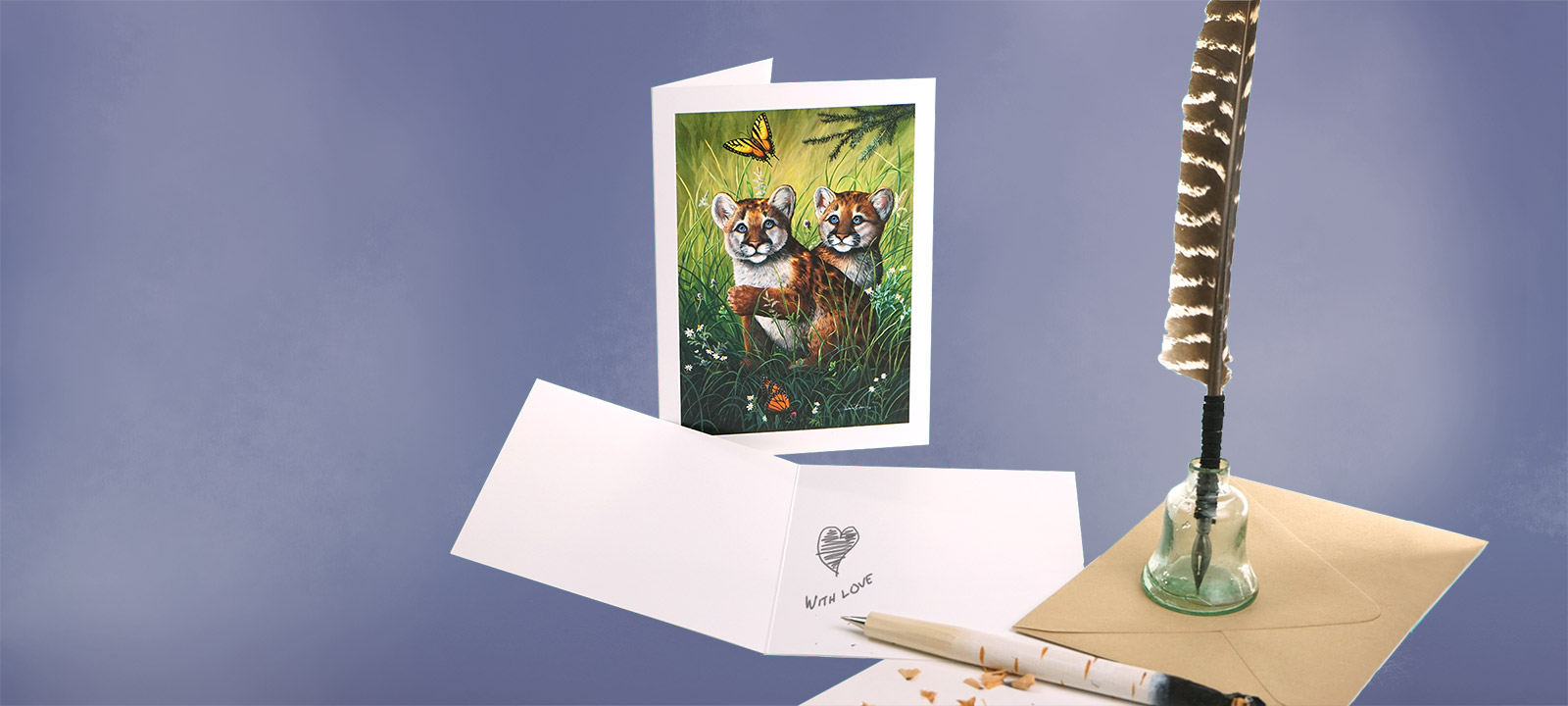 Cougar Cubs Greeting Card. Open card signed with Love and quill pen.