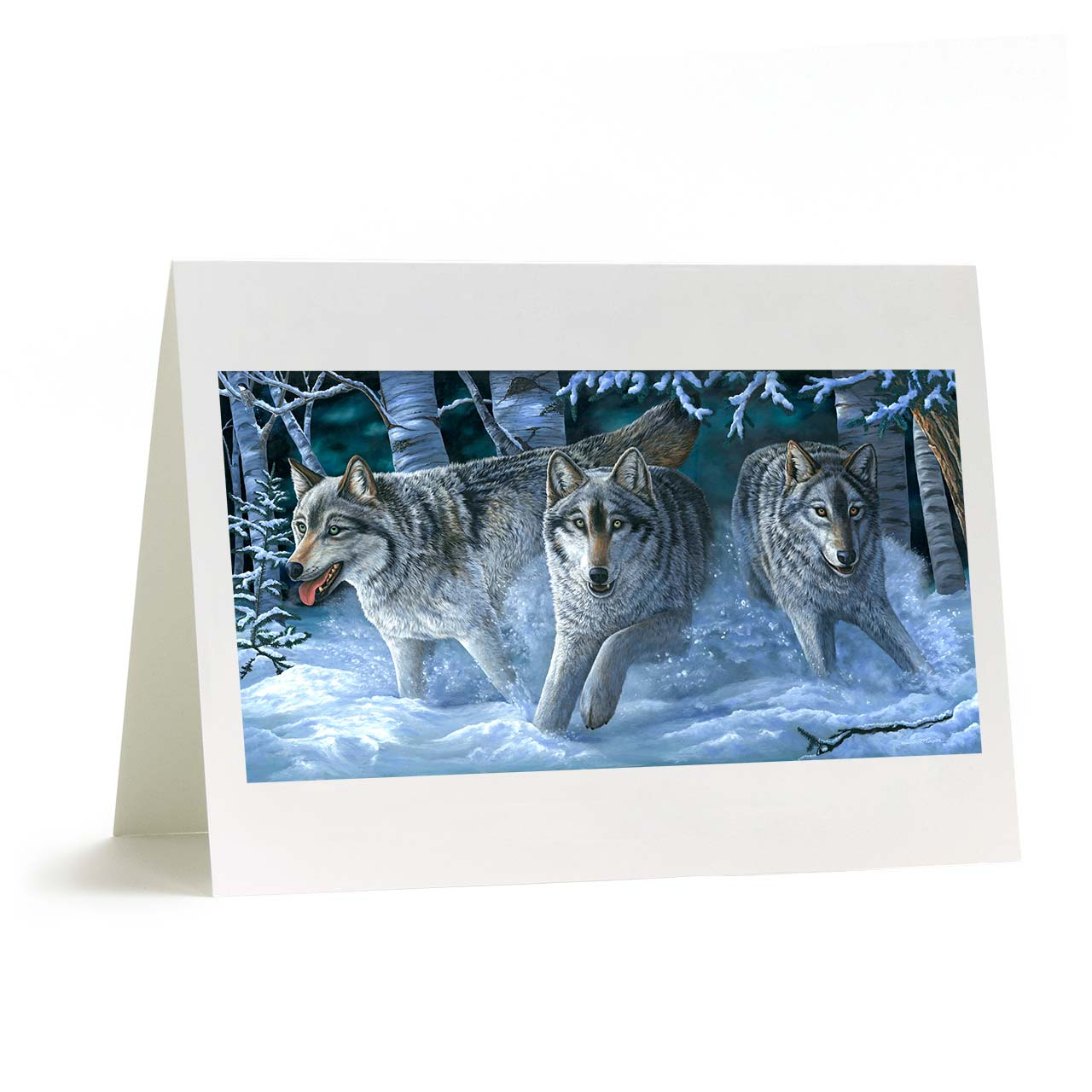 "Alaskan Gray Wolves and Winter Snow Greeting Card - ""Uwoduhi Aniwaya"""