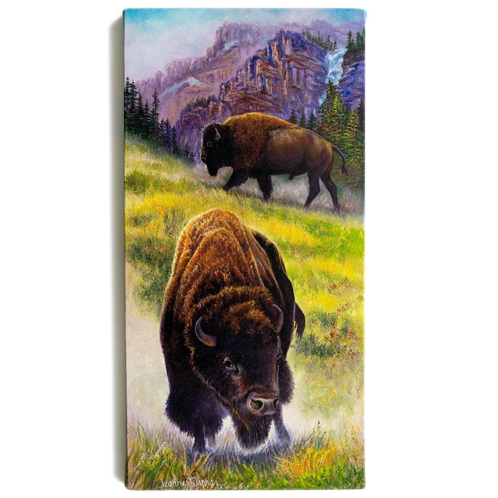 "Two Bison Buffalo and Grassy Green Mountain / Canvas Print - ""Double Threat"""