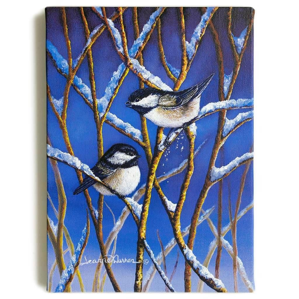"Chickadees and Snow / Canvas Print - ""Snow Birds"""