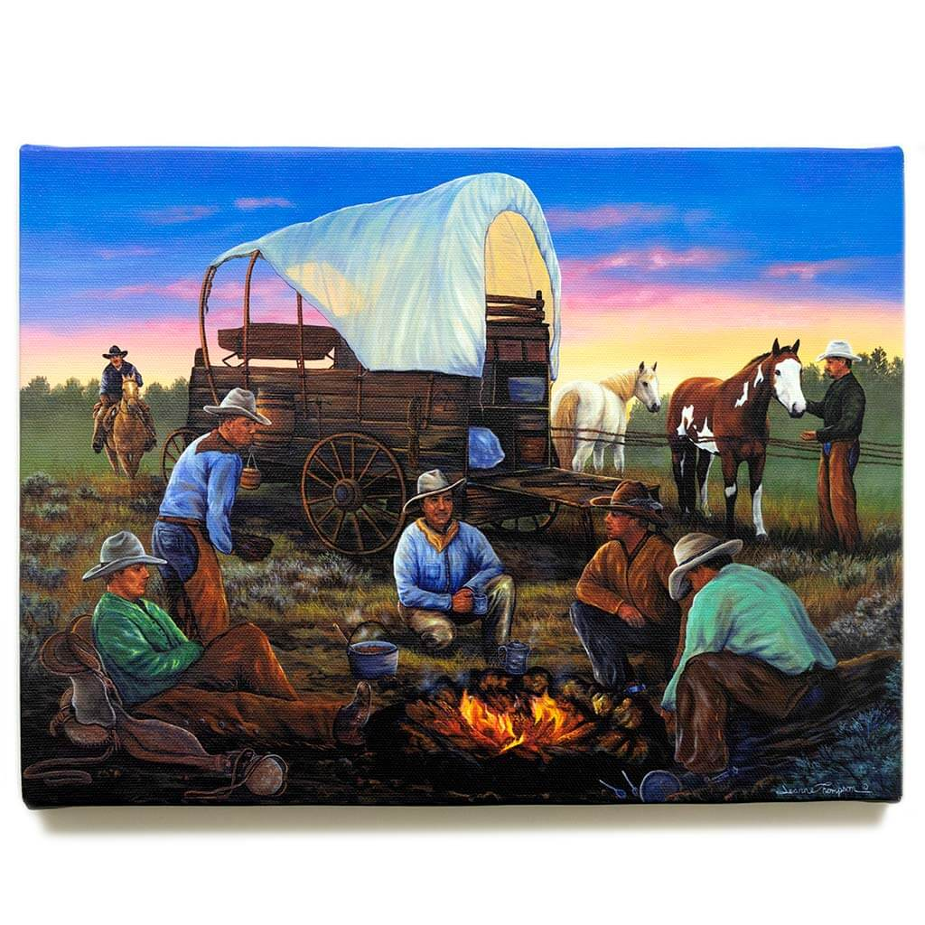 Covered Wagon with Cowboys, Campfire and Horses / Canvas Print