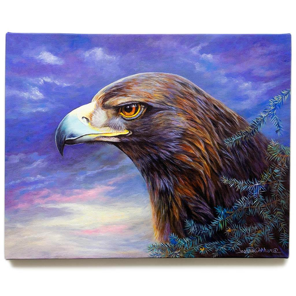 "Golden Eagle and Patriotic Sky / Canvas Print - ""Ready for Flight"""