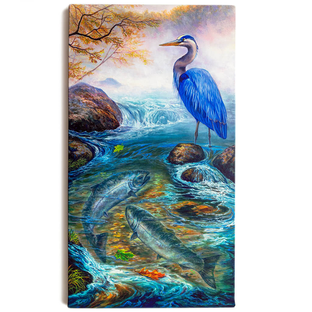"""Great Blue Heron and Salmon / Canvas Print - """"Fat Chance"""""""