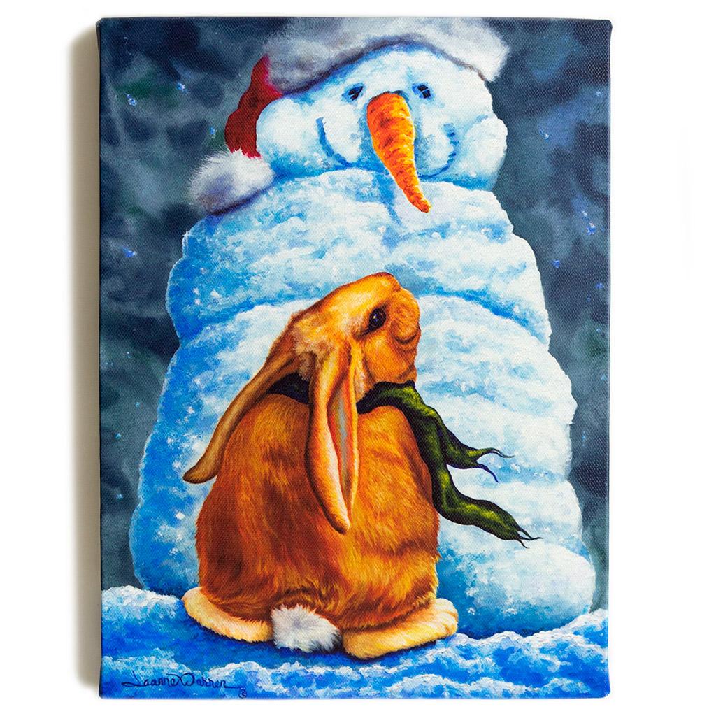 "Bunny Rabbit and Winter Snow Man / Canvas Print - ""Snow Bunny"""