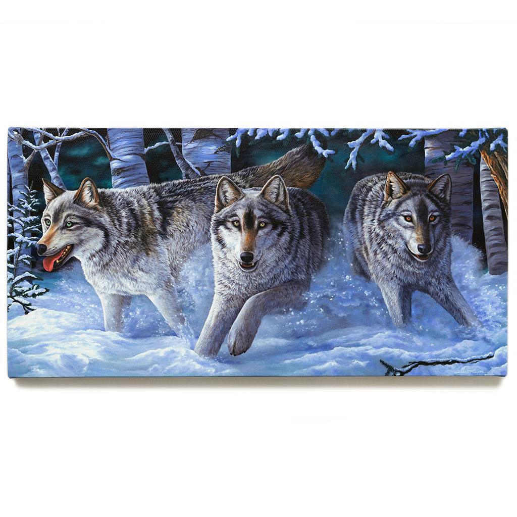 "Alaskan Gray Wolves and Winter Snow / Canvas Print - ""Uwoduhi Aniwaya"""