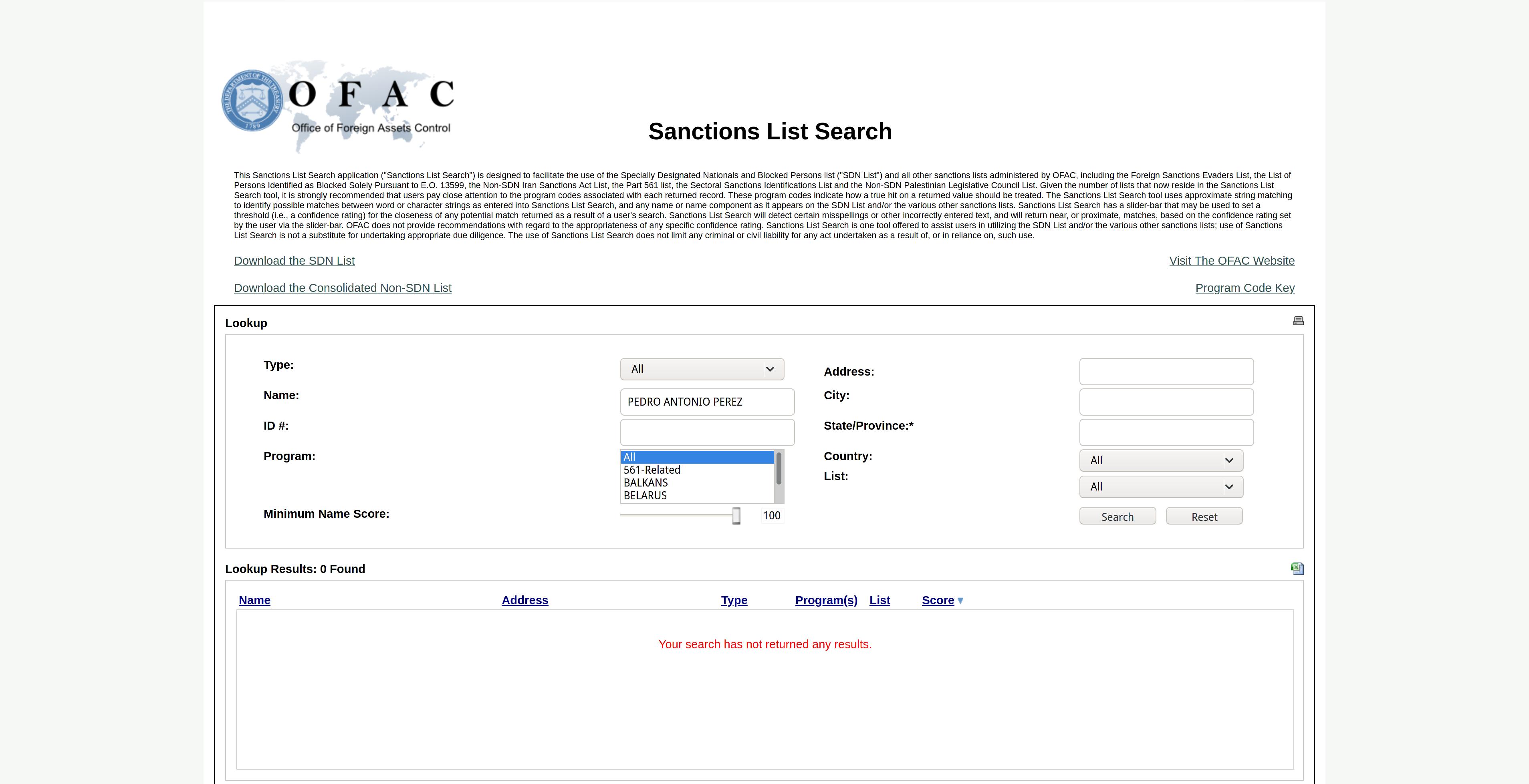 Consultamos la lista Clinton en linea OFAC