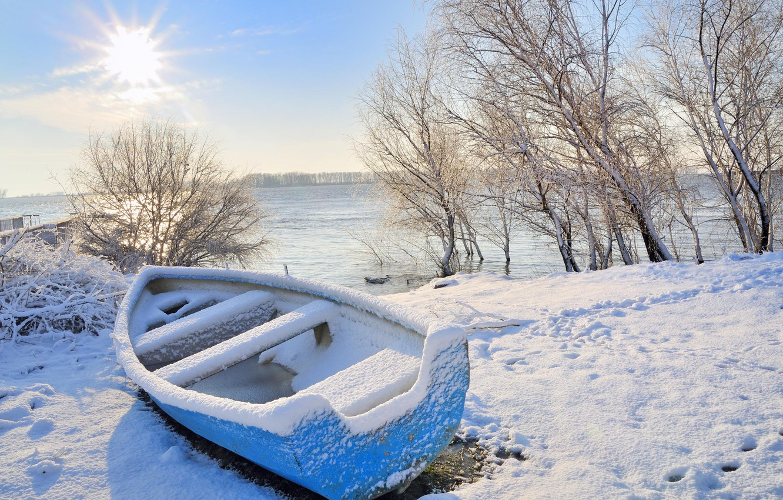 Boot in de winter