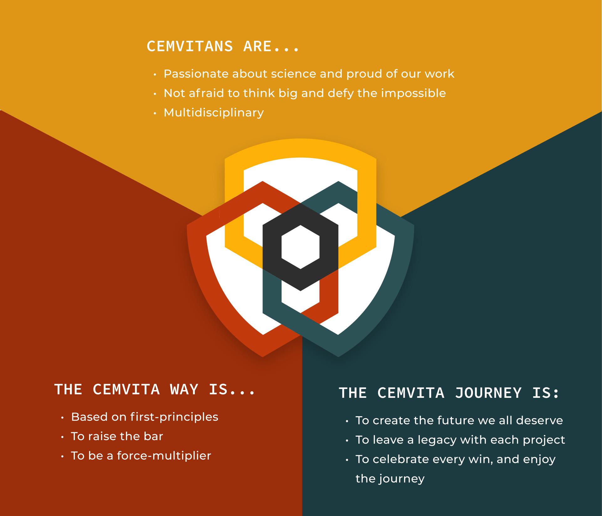 core values with cemvita logo mark in center