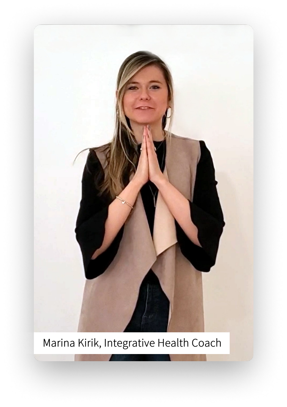 Screenshot of Marina Kirik, Integrative Health Coach leaving a video review for Relax with Adam Meditation Classes.