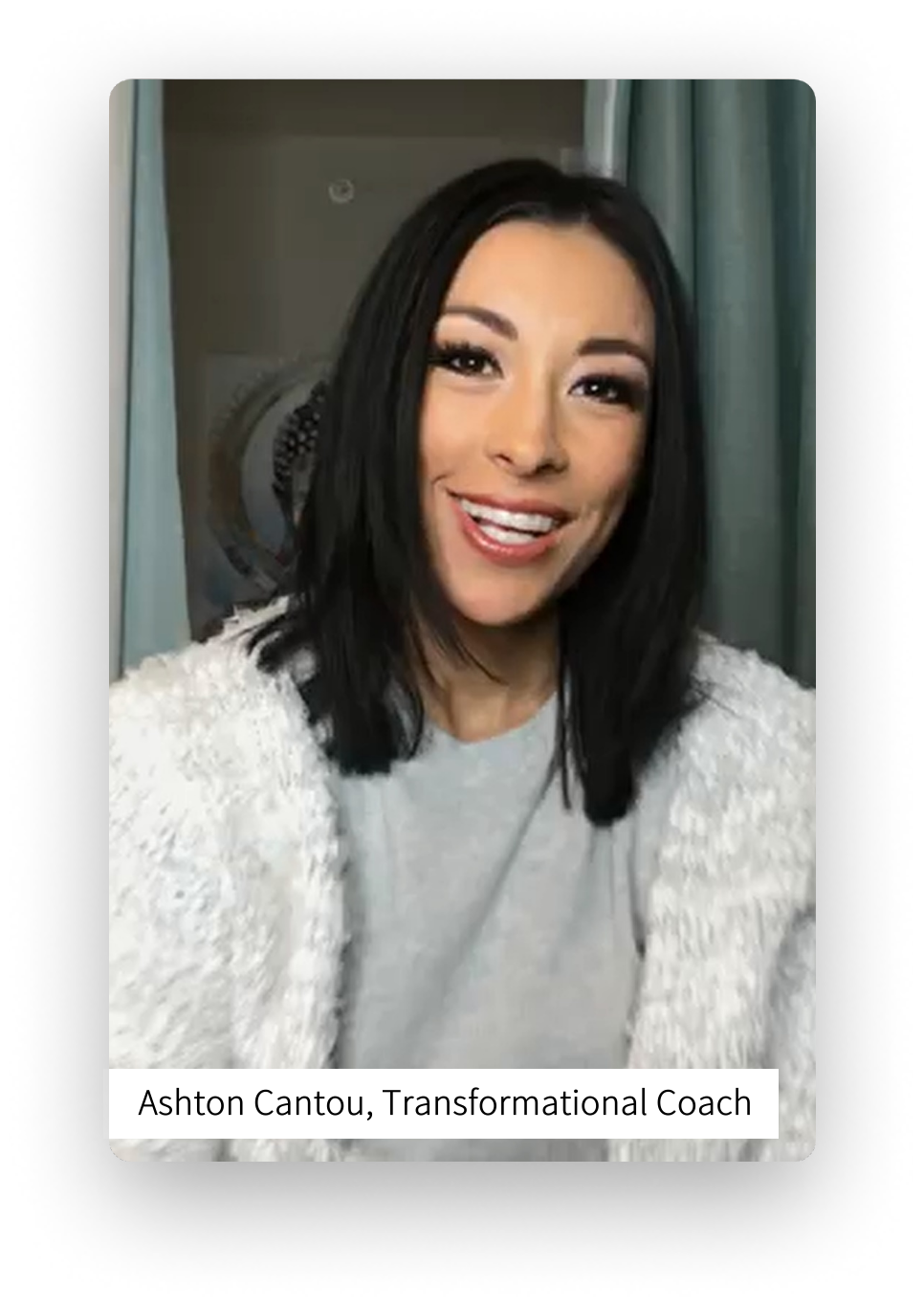 Screenshot of Ashton Cantou, Transformational Coach leaving a video review for Relax with Adam Meditation Classes.