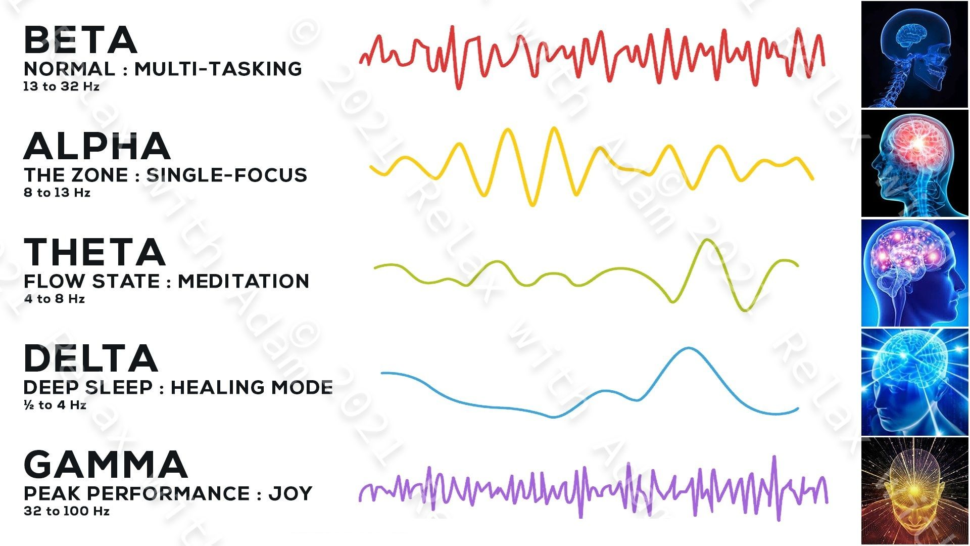 Illustration of the 5 primary brainwave states including waveform for Beta, Alpha, Theta, Delta, and Gamma. Learn to Harness these states of consciousness via the frequency, amplitude, and pitch of your brainwave patterns.