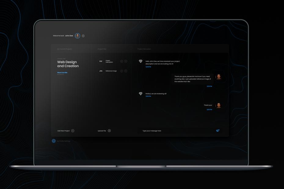 Example of 2020 web design trend dark mode