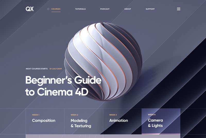Web design trends 2020 example: layers and shadows