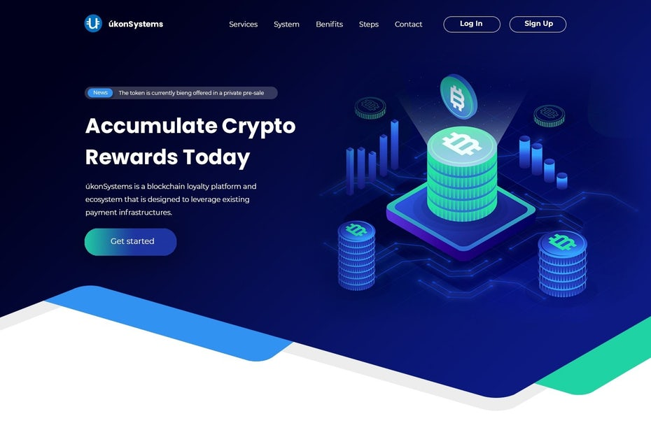 Web design trends 2020 example: web design with glowing neon colors on dark background