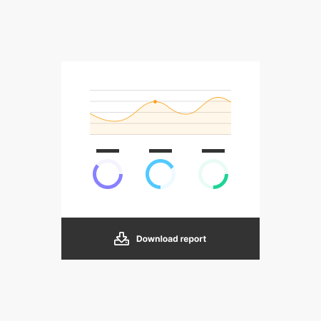 An illustration showing a chart, 3 KPIs and a download report button.