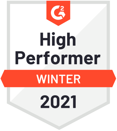 Badge of High Performer Winter 2021 from G2Crowd