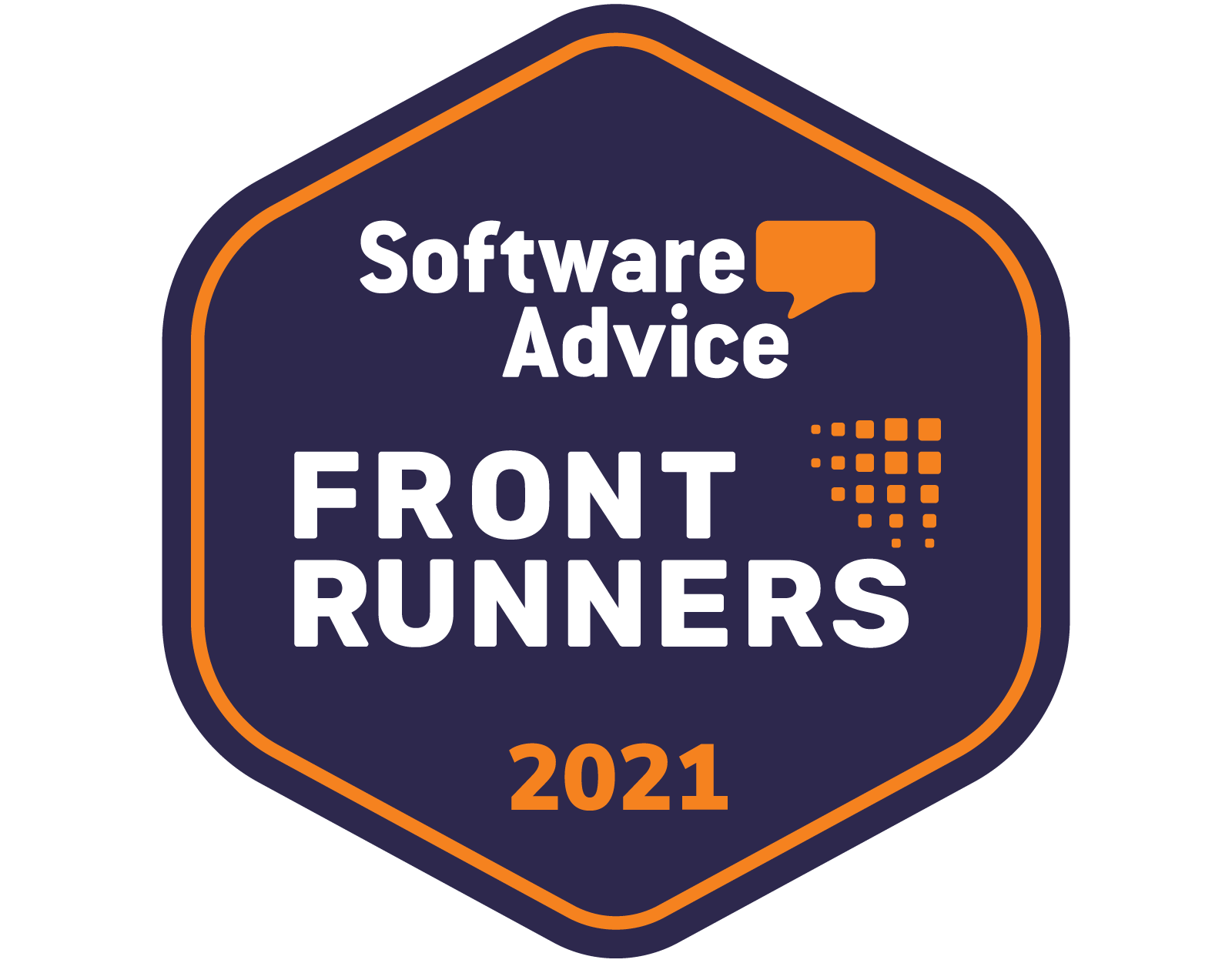 Software Advice Front Runners badge for 2021