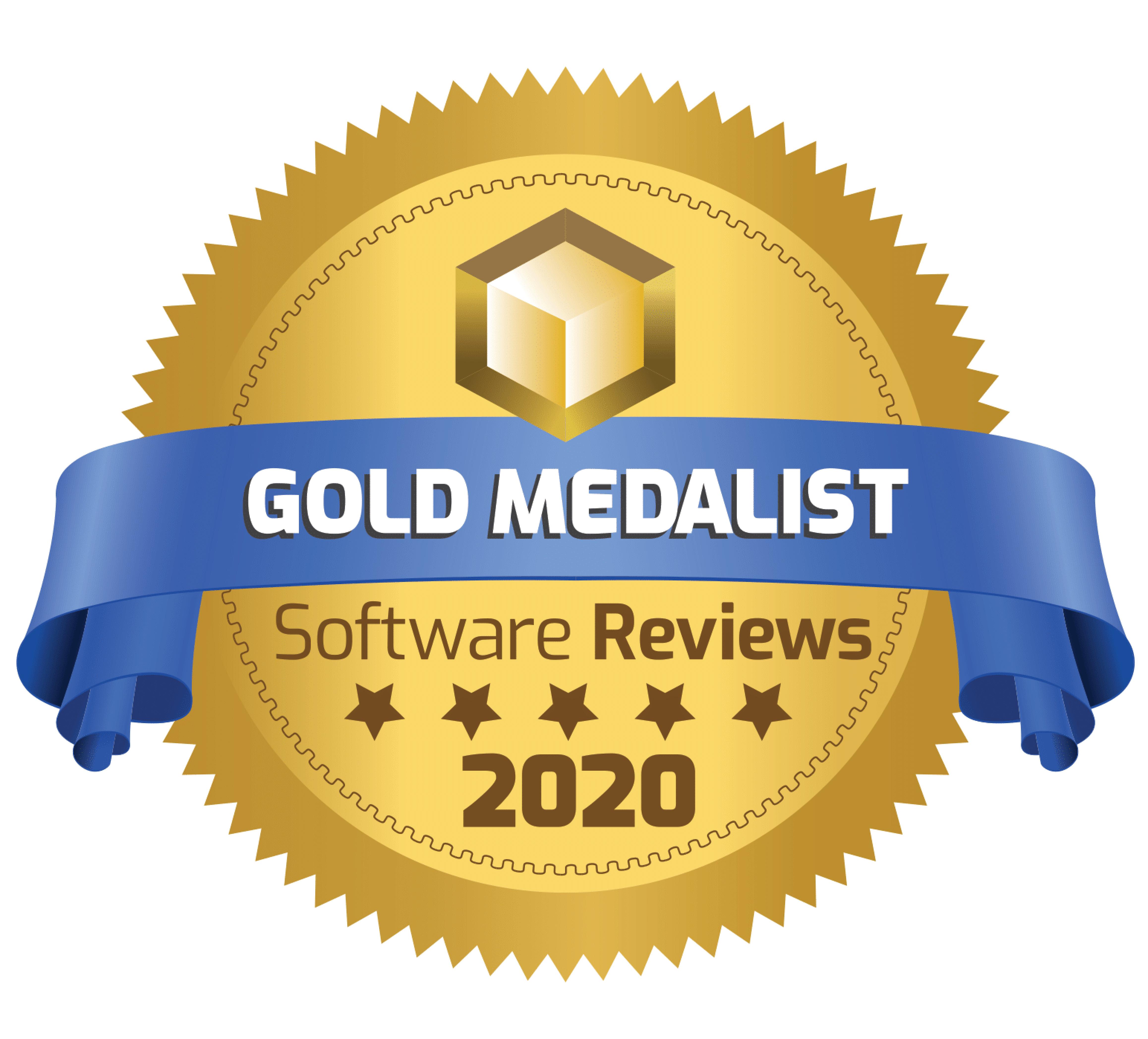 SoftwareReviews Gold Medal badge for 2020