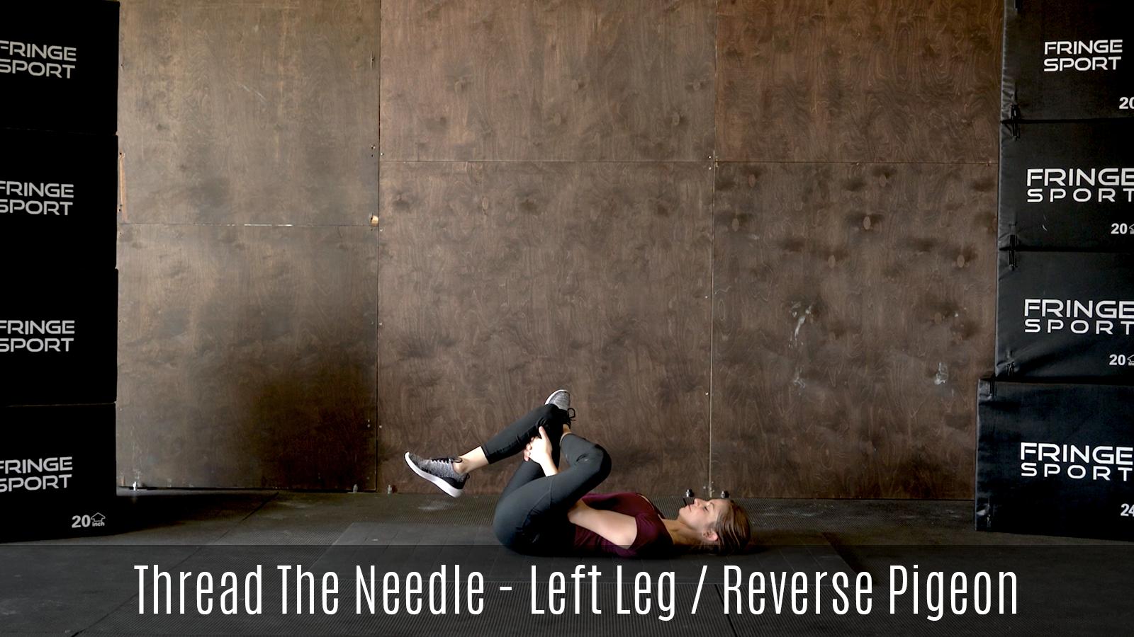 reverse pigeon stretch demo lying on floor