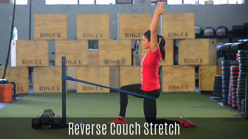 reverse couch stretch using band demo