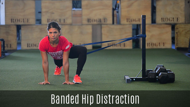 hip distraction demo using exercise band