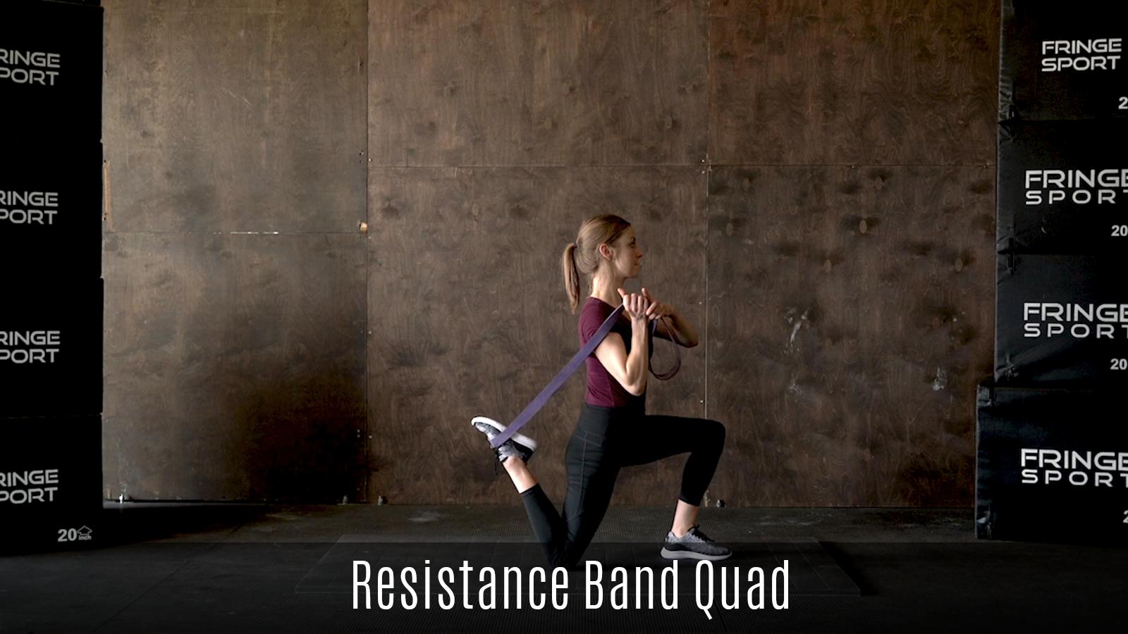 quad stretch demo using resistance band