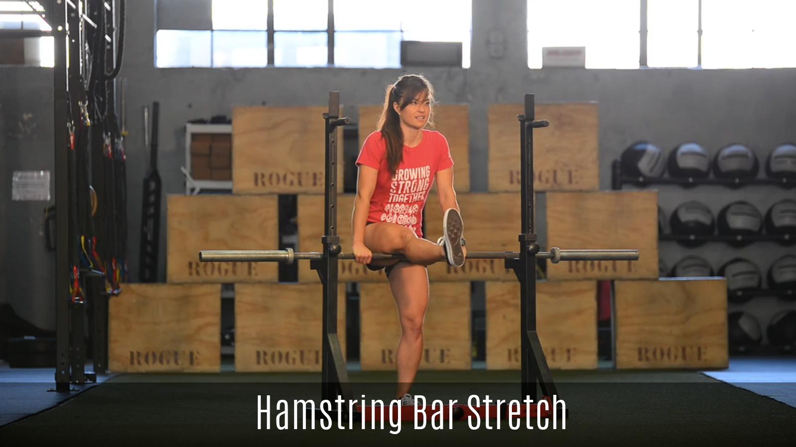 hamstring stretch using a bar