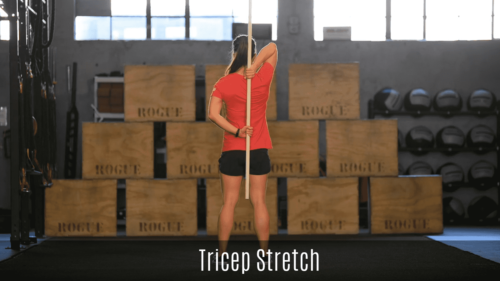 tricep stretch demo using pole