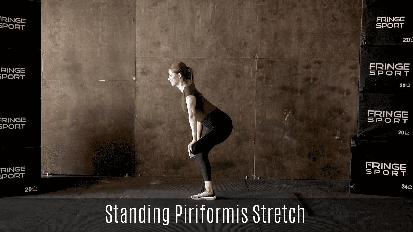 standing piriformis stretch demo