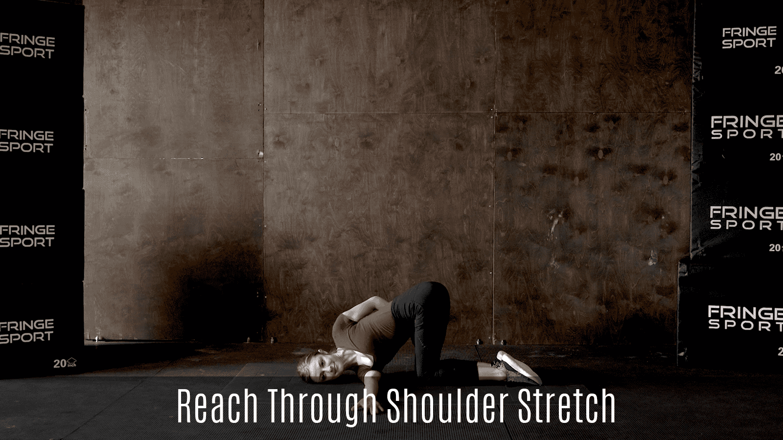 reach through shoulder stretch demo lying on floor