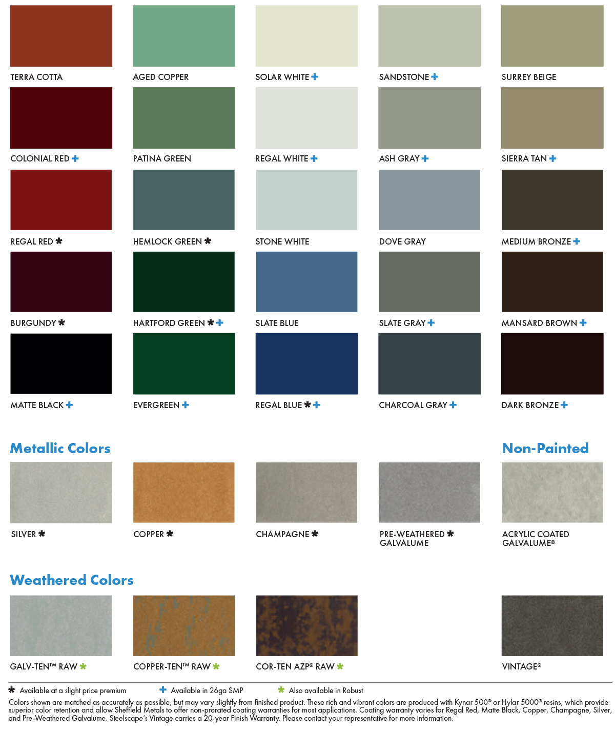 AL-CO Metal Roofing 24 Gauge Steel Standing Seam Color Chart