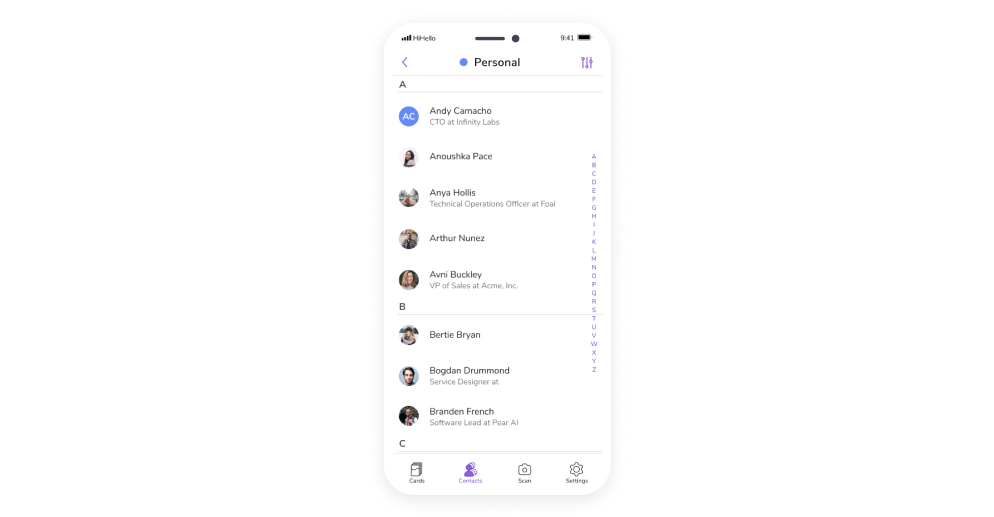HiHello screen on iPhone showing a personal contact group