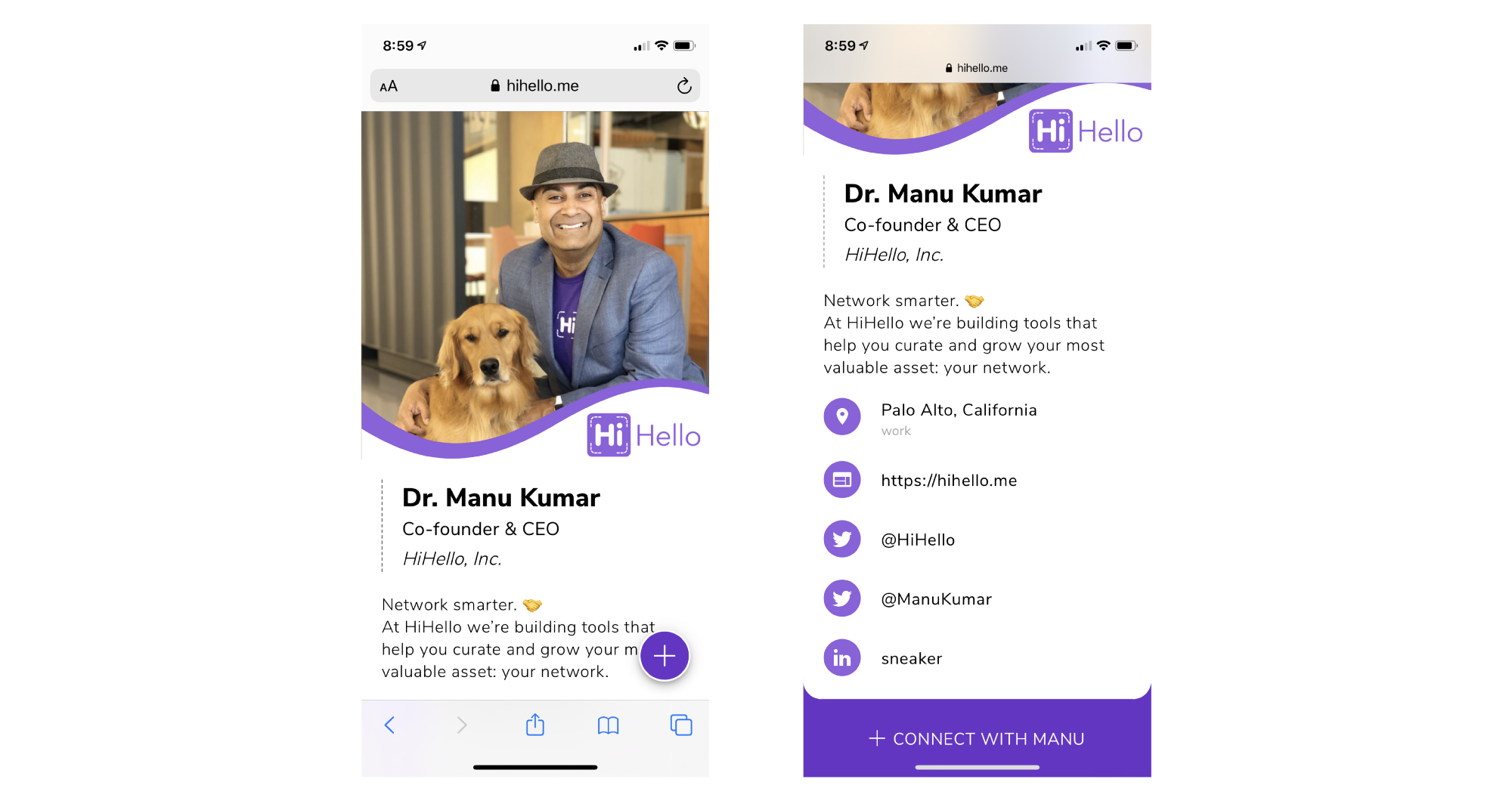 Dr. Manu Kumar's HiHello digital business card