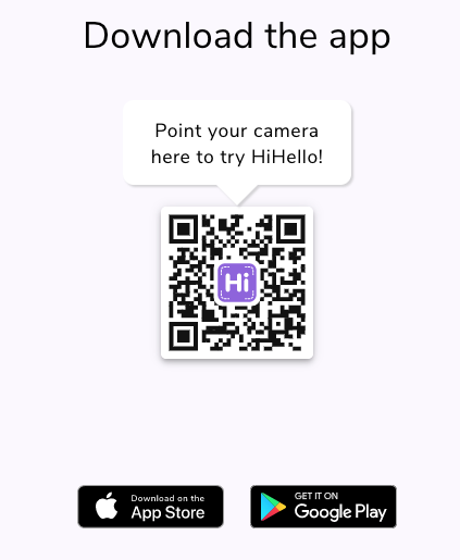 HiHello QR code to download the HiHello app
