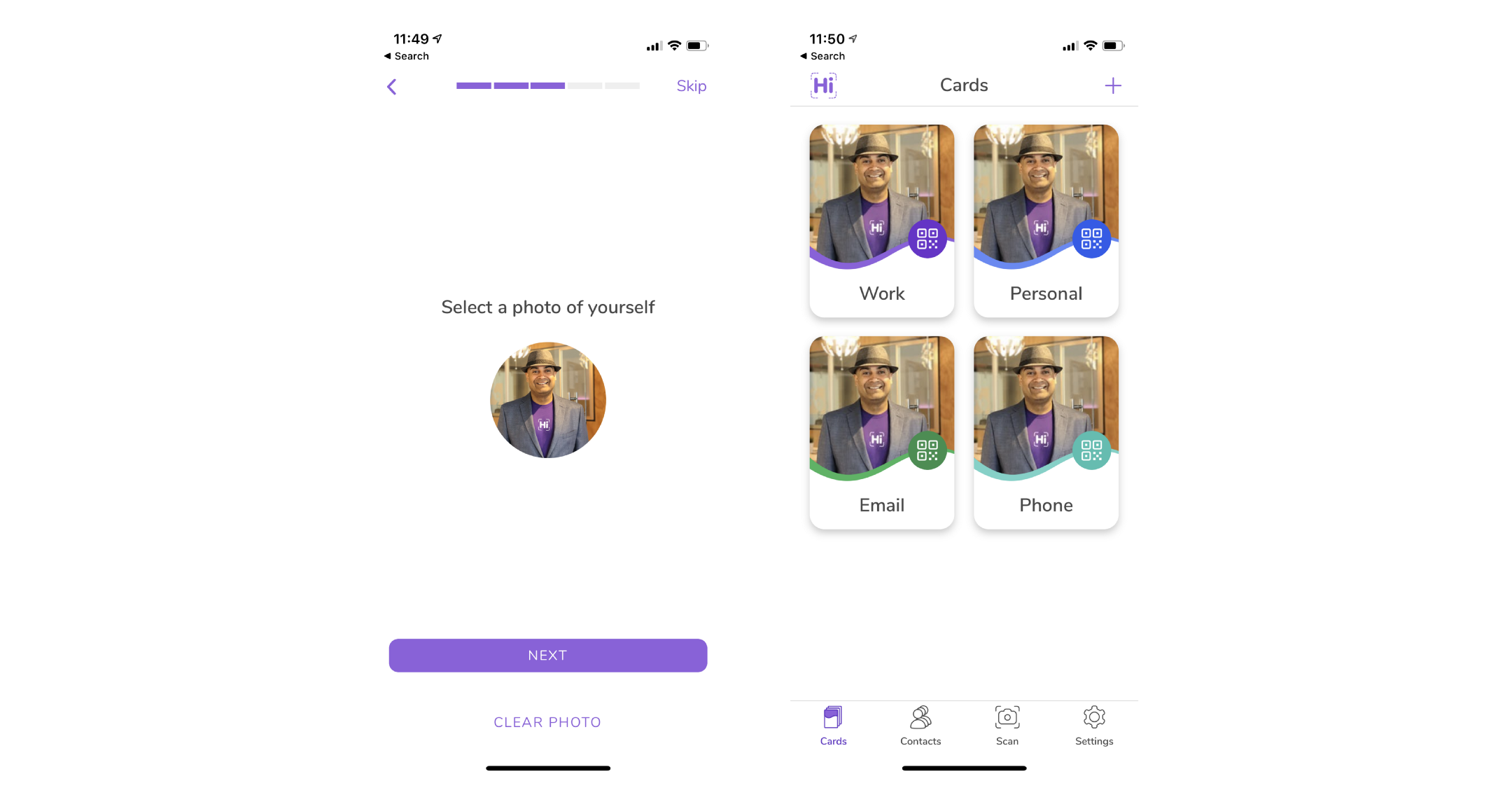 HiHello onboarding. Add a picture and card view.