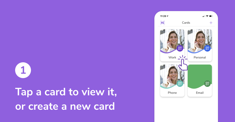 Tap a card to view it, or create a new card
