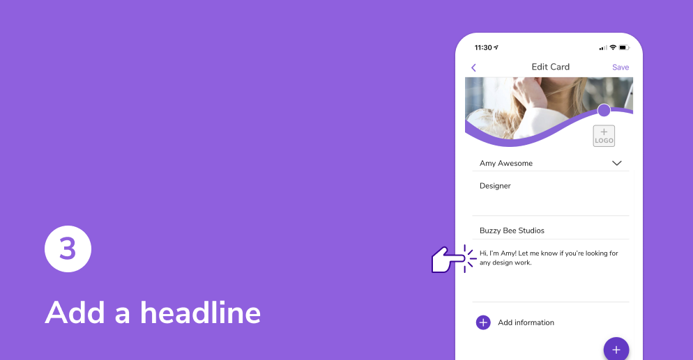 Add a headline to your HiHello digital business card.