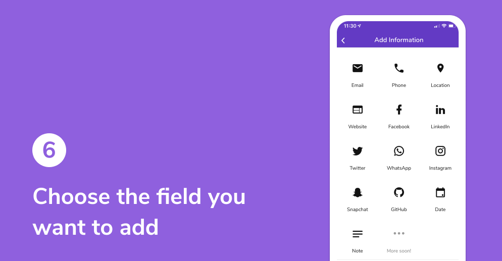 Choose the field you want to add on your HiHello digital business card.
