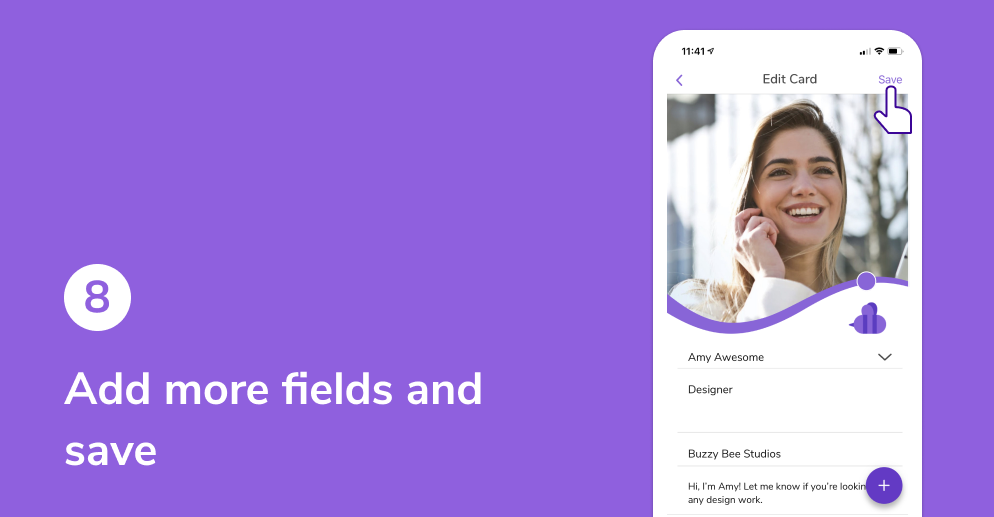 Add more fields and save your HiHello digital business card.