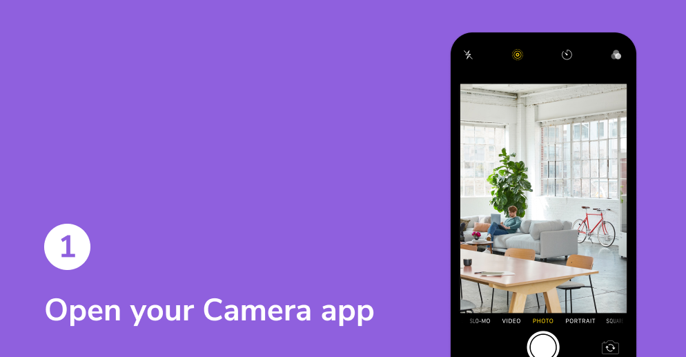 Tutorial on how to receive a HiHello digital business card. Open your camera app.