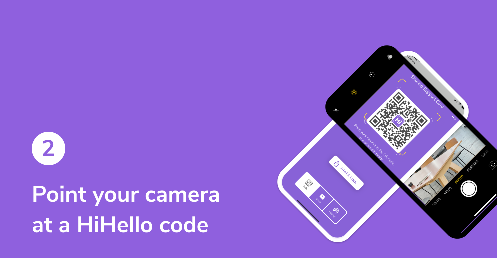 Point your camera at a HiHello QR code.