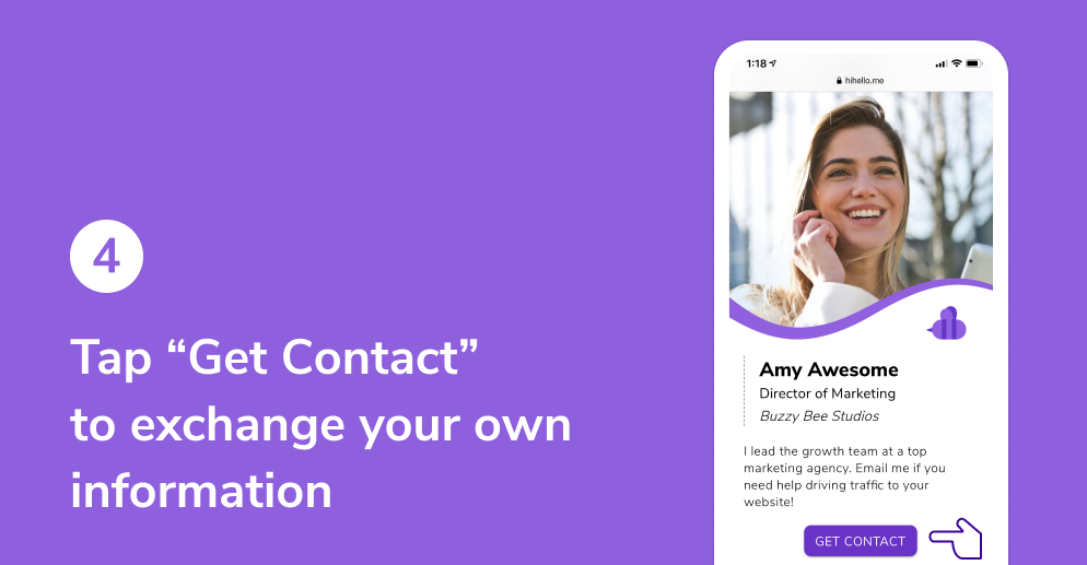 """Tap """"Get Contact"""" to exchange your own information"""