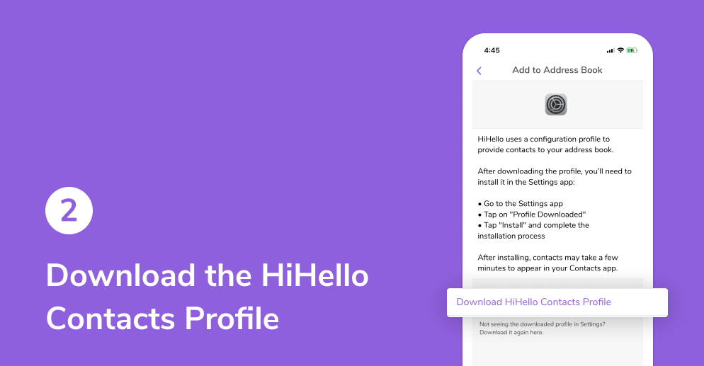 Download the HiHello Contacts Profile